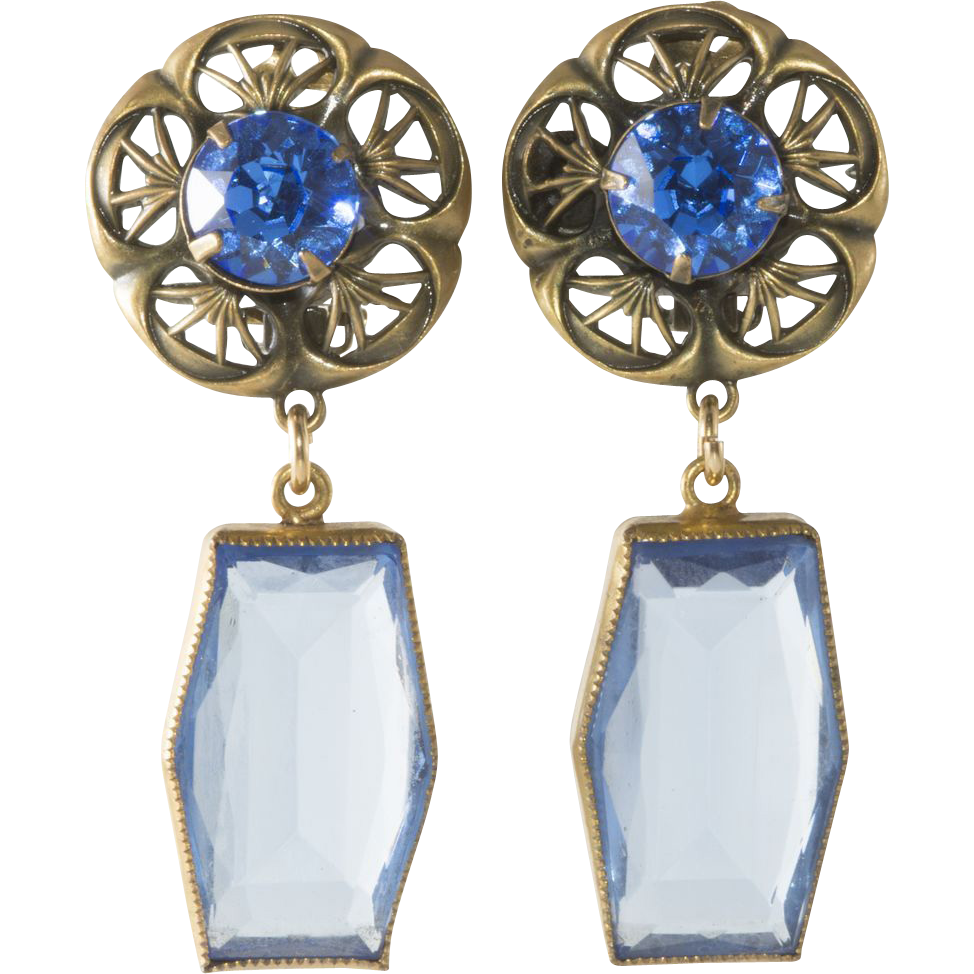 RESERVED for Marine - Joseff of Hollywood Blue Antique Glass Earrings