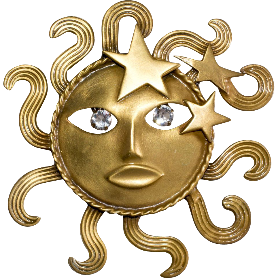 Joseff of Hollywood Sun God Brooch Pin