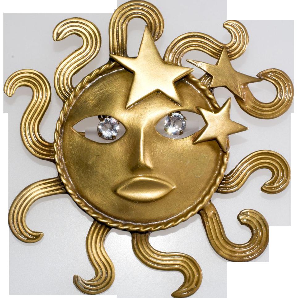 Joseff of Hollywood Sun God Brooch Pin