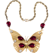 Joseff of Hollywood Cranberry Red Rhinestone Butterfly Necklace