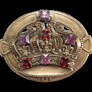 Joseff of Hollywood Purple & Red Rhinestone Crown Brooch Pin