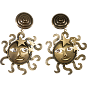 Joseff of Hollywood Sun God Dangle Earrings Rhinestone Eyes