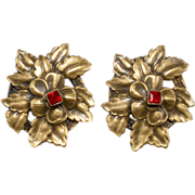 Joseff of Hollywood Rhinestone Flower Earrings