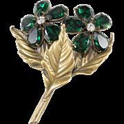 Joseff of Hollywood Emerald Green Rhinestone Flower Brooch Pin