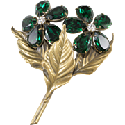Joseff of Hollywood Emerald Green Rhinestone Flower Brooch Pin