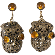 Joseff of Hollywood Dangle Lantern Earrings Amber Glass Cabochons