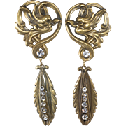 Joseff of Hollywood Art Nouveau Style Dangle Earrings with Rhinestones