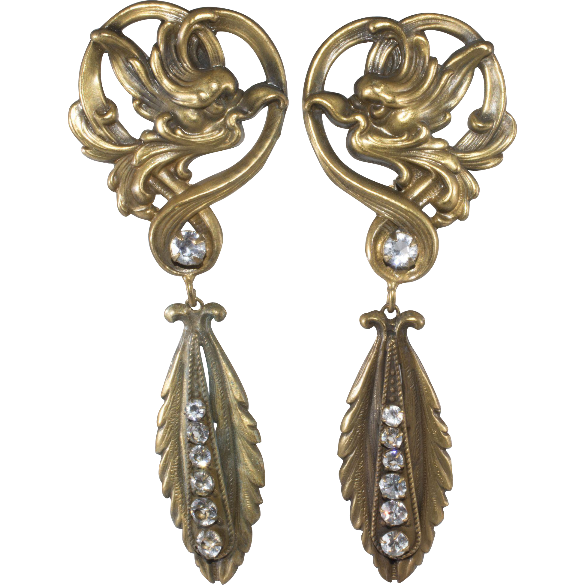 Joseff Of Hollywood Art Nouveau Style Dangle Earrings With