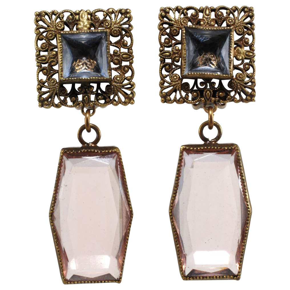RESERVED for Marine - Joseff of Hollywood Pink Antique Glass Earrings