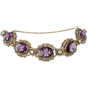 Joseff of Hollywood 1930s Purple Rhinestone Bracelet