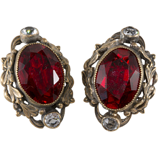 Joseff of Hollywood Red Rhinestone Earrings Victorian Revival