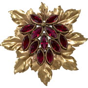 Joseff of Hollywood 1940s Red Rhinestone Leaf Brooch