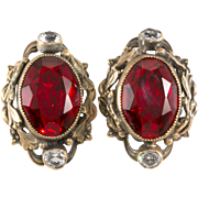 Joseff of Hollywood Ruby Red Rhinestone Earrings