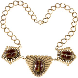 Joseff of Hollywood Egyptian Revival Scarab Necklace
