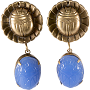 Joseff of Hollywood Scarabs Blue Glass Dangle Earrings