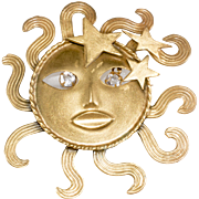 Joseff of Hollywood Sun God Rhinestone Eyes Brooch Pin