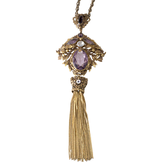 Joseff of Hollywood 1930s Convertible Tassel Necklace Brooch