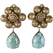 Joseff of Hollywood Turquoise Glass Dangle Earrings