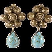Joseff of Hollywood Turquoise Glass Dangle Earrings