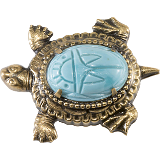 Joseff of Hollywood Turtle Brooch Pin Turquoise Glass Scarab