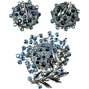 Judy Lee Blue Rhinestone Brooch and Earrings Set Vintage