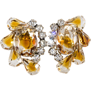 Juliana DeLizza Elster Honey Amber or Topaz Givre Rhinestone Earrings