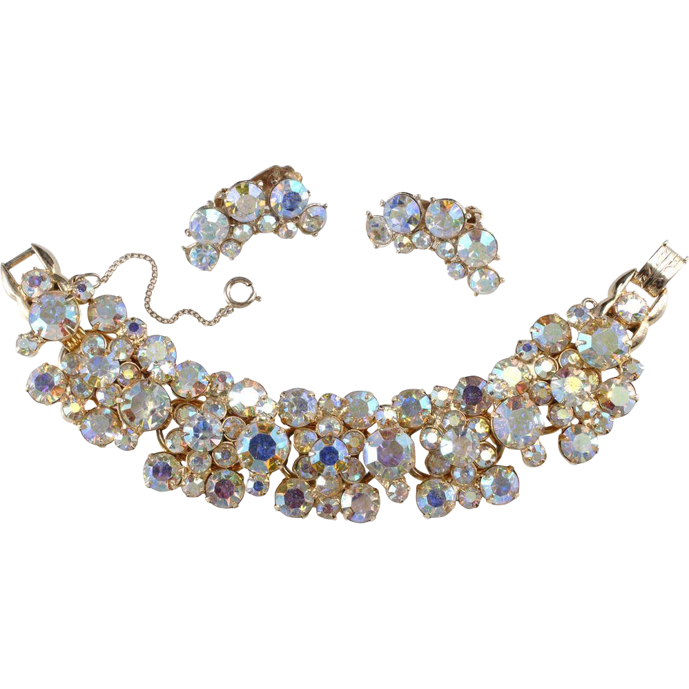 Juliana Iridescent Aurora Borealis Bracelet & Earrings Set