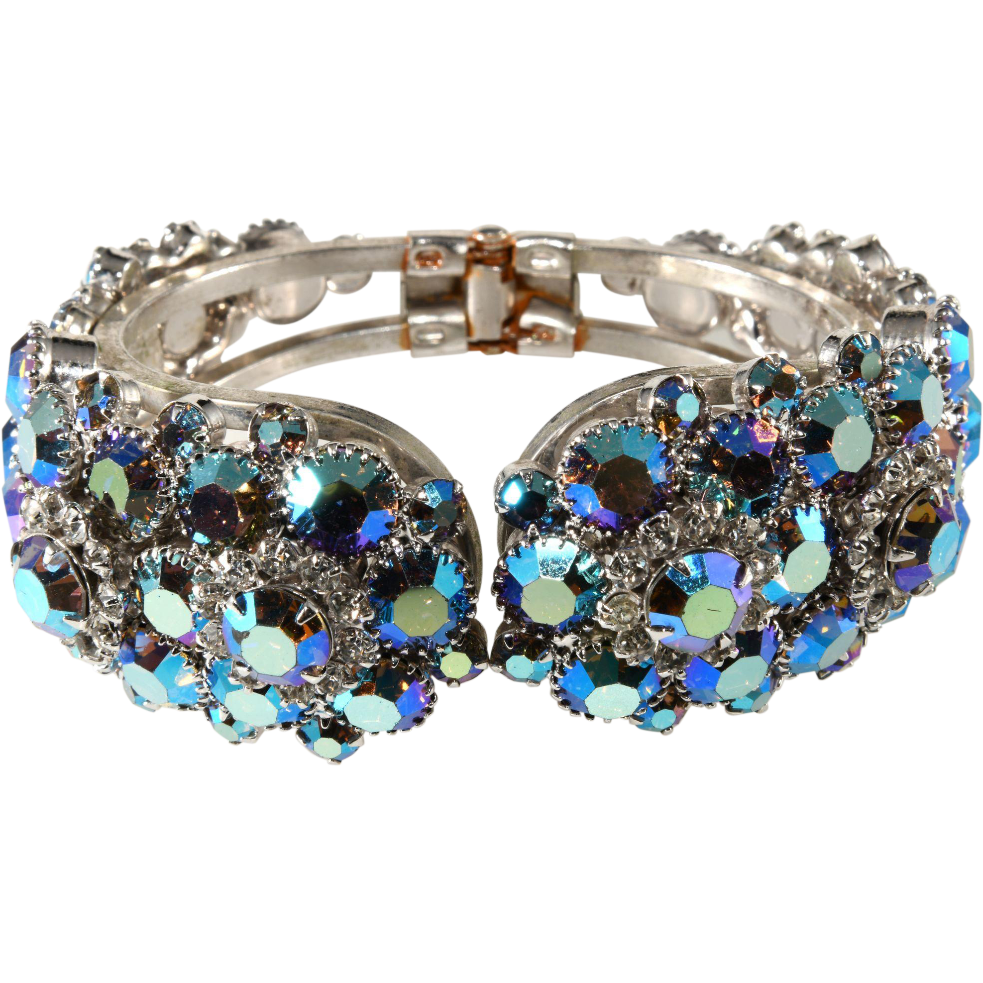 Juliana DeLizza Elster Iridescent Aurora Borealis Rhinestone Clamper Bracelet