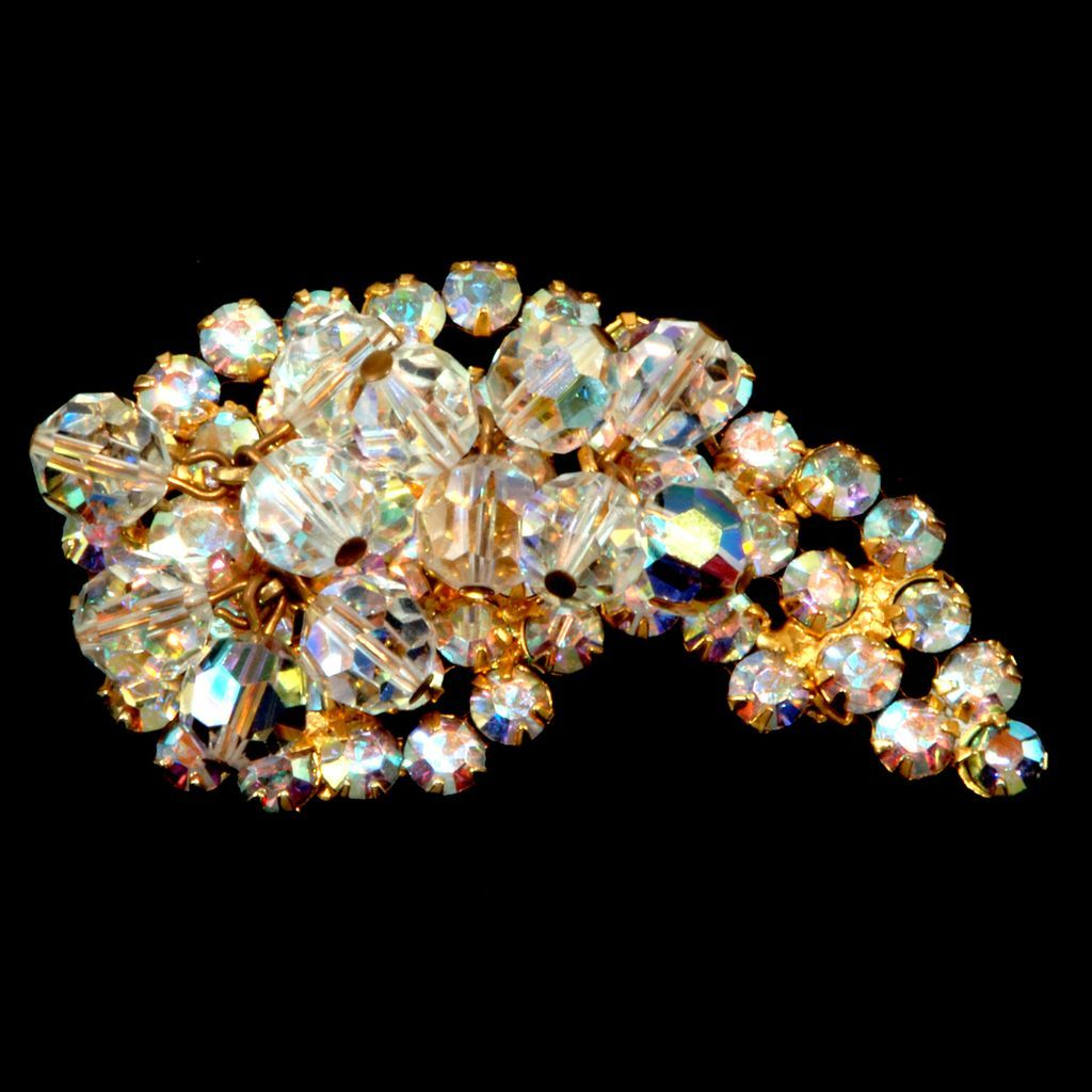 Juliana Aurora Borealis Crystal Dangle Brooch Pin
