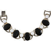 Juliana Black White Chalk Rhinestone Bracelet Vintage