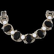 Juliana Black White Chalk Rhinestone Bracelet Vintage