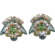 Juliana Turquoise Blue Iridescent Rhinestone Earrings