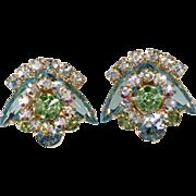 Juliana Turquoise Blue Iridescent Rhinestone Earrings