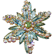 Juliana Turquoise Blue Iridescent Rhinestone Starburst Brooch Pin