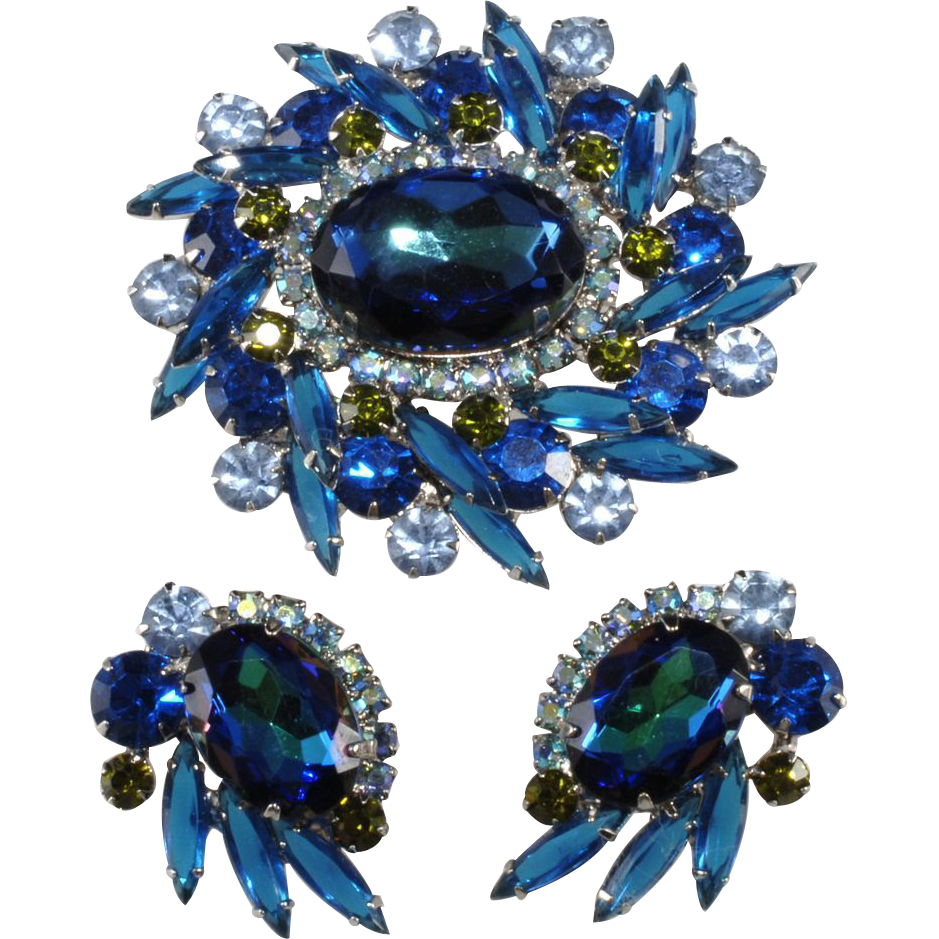 Juliana Blue Watermelon Rhinestone Brooch & Earrings Set