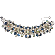 Juliana Blue Rhinestone Faux Pearl Dangle Bracelet