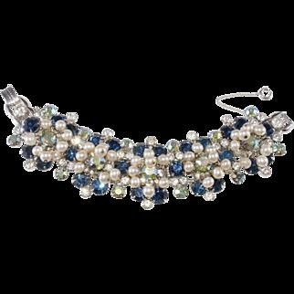 Juliana Blue Rhinestone Faux Pearl Dangle Bracelet