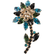 Juliana Blue Green Black Rhinestone Flower Brooch DeLizza & Elster