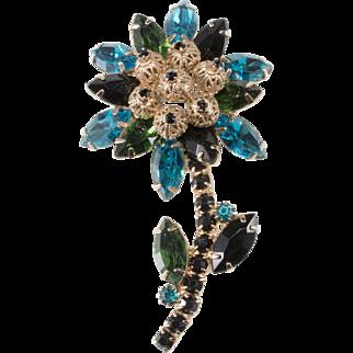 Juliana Blue Green Black Rhinestone Flower Brooch DeLizza & Elster
