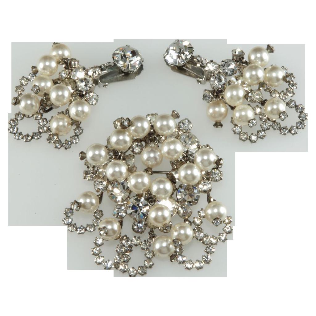 Juliana Pearl & Rhinestone Dangles Brooch Earrings Set