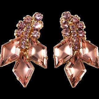 Juliana DeLizza Elster Pink Rhinestone Earrings Vintage