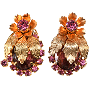 Juliana Leaf and Flower Pink Purple Rhinestone Earrings