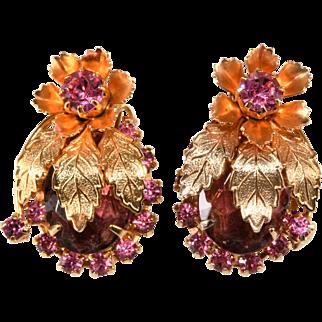 Juliana Leaf and Flower Pink Purple Rhinestone Earrings
