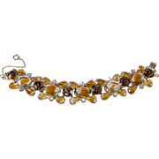 Juliana DeLizza Elster Honey Amber or Topaz Givre Rhinestone Bracelet