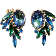 Blue Watermelon Rhinestone Earrings