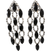 "Kenneth Jay Lane KJL 3 1/2"" Black Clear Rhinestone Dangle Earrings"