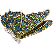 Kenneth Jay Lane KJL Blue Green Enamel Butterfly Brooch Pin