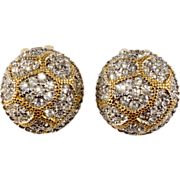 K.J.L. Rhinestone Button Earrings