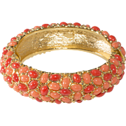 Kenneth Jay Lane KJL Coral Cabochon Hinged Bangle Bracelet