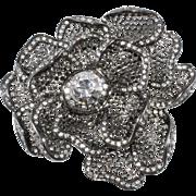 K.J.L. Clear Rhinestone Flower Brooch Pin Kenneth Jay Lane